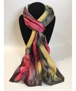 Hand Painted Silk Scarf Watermelon Yellow Charcoal White Womens Rectangle New - $56.00