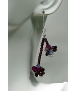 Cherry blossom Swarovski crystal earrings, sterling silver filled earwir... - $42.00