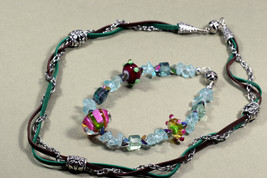 Lampworked glass, Rainbow Fluorite Bracelet & Braided Necklace convertible - $38.00