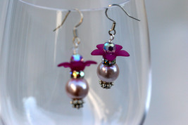 Swarovski crystal and glass pearl earrings with floral bead cap - $18.00