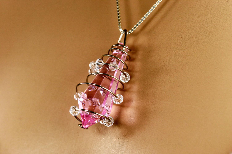 Swarovski crystal pillar pendant