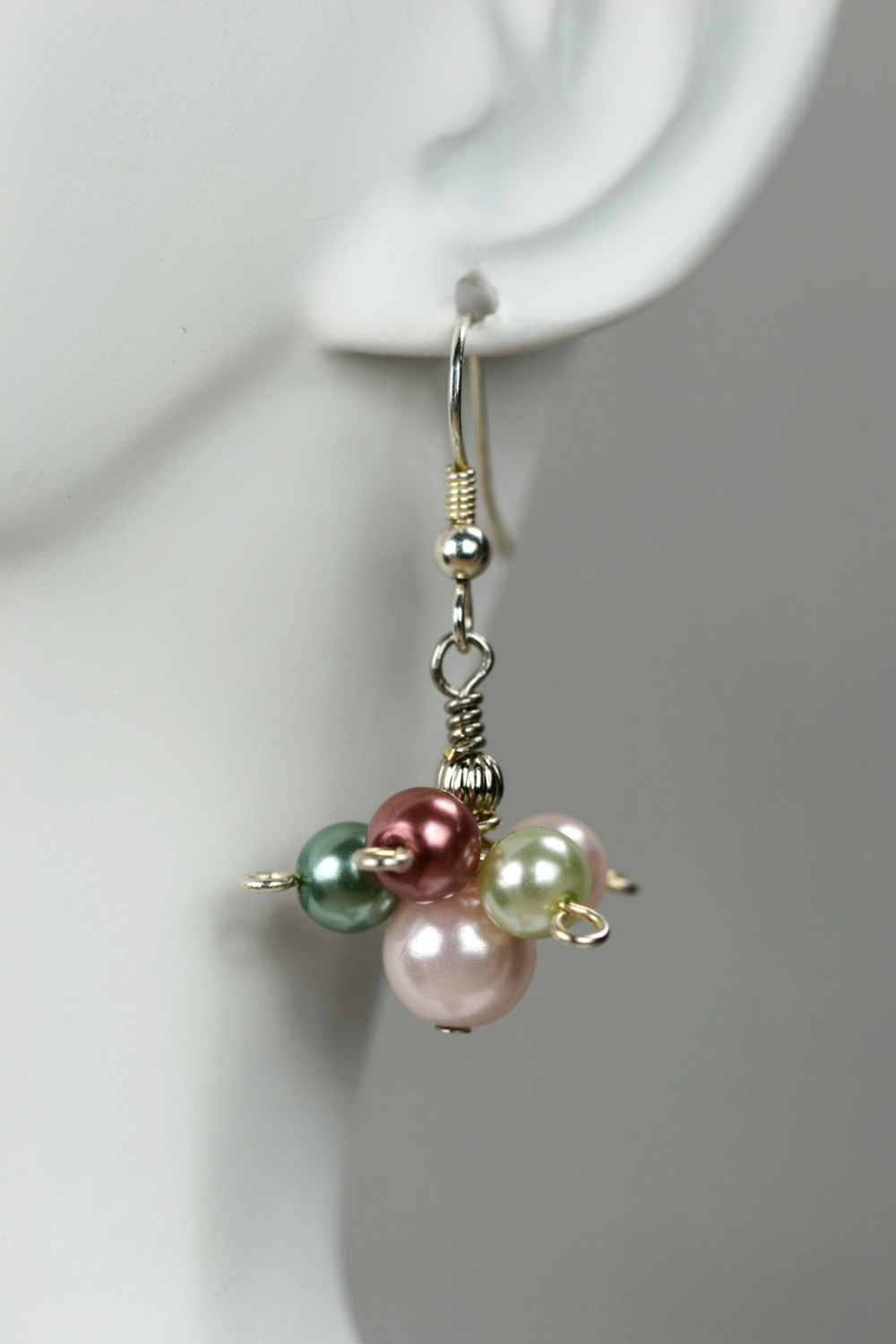 Glass pearl cluster earrings, pastel colours