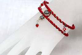 Suede wrapped silver plated bangle with Swarovski crystal bicone and sil... - $28.00