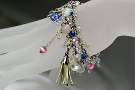 Mixed media charm bracelet, 2 roll silver plated chain with charms & dan... - $54.00
