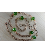 Green quartz & Swarovski crystal rose gold plated link chain necklace - $90.00