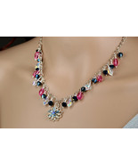 Swarovski crystal cone necklace with flower pendant - $114.00