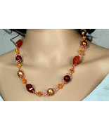 Wigjig link necklace, with carnelian tiwsted beads, Swarovski crystal pe... - $54.00