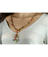 Mixed lampwork glass, Swarovski crystal pearls, designer glass necklace - $91.00