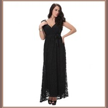 Long Plus Size Sleeveless Black Lined Lace Maxi W/ Ribbon Tied Empire Waist Gown image 1