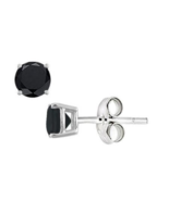 Handmade black diamond onyx stud Earring 925 Sterling Silver free shippi... - $8.40