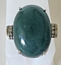 Custom Chistick Huge 77.4 ct Cabochon Aquamarine diamond 14k White gold ... - $6,999.99