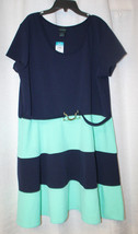 NEW WOMENS PLUS SIZE 3X NAVY BLUE & MINT COLORBLOCK STRIPED SPRING SUMME... - $19.34