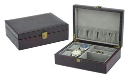 COROCO LEATHER CUFFLINK & RING STORAGE DISPLAY CASE CUFF LINKS MENS JEWE... - $39.59