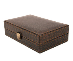 Bombay Executive class crocodile leather Cufflink Case & Ring Storage Or... - €38,71 EUR