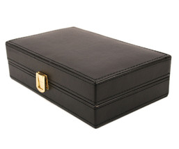 New Executive class black Faux  leather Cufflink Case Ring Storage Organ... - €33,66 EUR