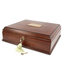 Vintage Small Metal Lock Jewelry Holder Treasure Chest Case Handmade Woo... - €96,81 EUR