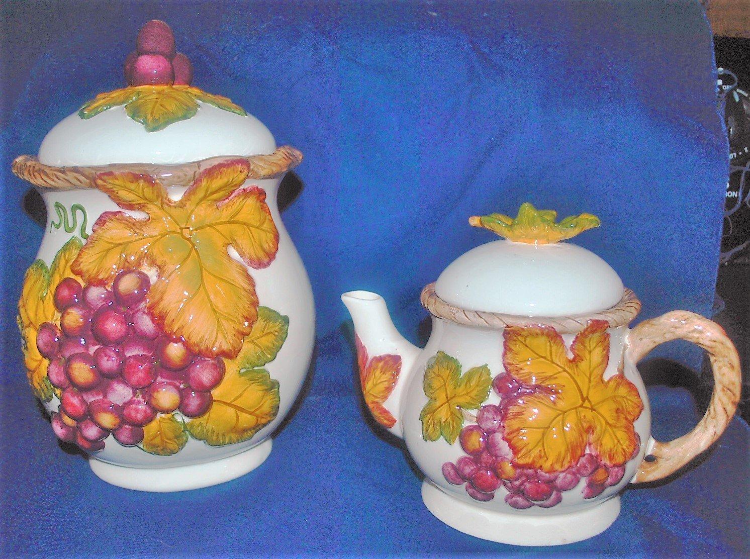 Bico China Autumn Leaves Teapot and Cookie Jar Set