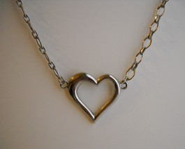 Heart Pendant Silver Metal Link Chain Necklace Adjustable Repurposed Vin... - $28.00