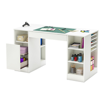Counter Height Craft Table Storage Organizer Hobby Sewing Desk Cubby White - $367.00