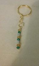 Handmade Teal Green & Yellow Beaded Gold Key Ch... - $6.29