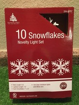 New Set Of Ten Lighted Large Snowflake Novelty Lights White with Clear Bulbs - $15.83
