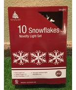 New Set Of Ten Lighted Large Snowflake Novelty Lights White with Clear B... - $15.83