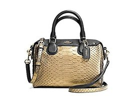 Coach Metallic Snakeskin Baby Satchel - Gold - $178.19