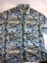 Hilo Hattie Hawaiian 100% Silk Hawaiian Aloha XL Mountain Island Surf Shirt - $24.54