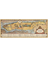 "16""x40.5"" Pictorial Chart Map of Manhattan New York 1936 Vintage Historic Poster - $35.64"