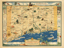1937 Historical Map State of Connecticut Vintage Genealogy Family Histor... - $12.38+