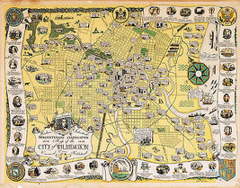 1938 Pictorial Map Wilmington Historical Vintage Genealogy Wall Art Post... - $12.38+