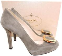 $790 Prada Jeweled Gold Brooch Taupe Suede Inner Platform Pump Shoe 39.5 - $359.00