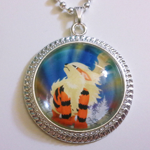 Pokemon Arcanine Go Video Game 1 inch Glass Stone Necklace Pendant Pokeball - $15.00