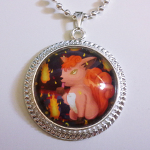 Pokemon Vulpix Go Video Game 1 inch Glass Stone Necklace Pendant Pokeball - $15.00