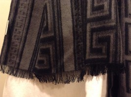 Mad About Style 100% viscose Black Gray Meander Pattern Fray Edges Scarf image 3