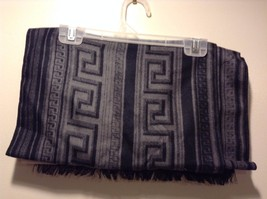Mad About Style 100% viscose Black Gray Meander Pattern Fray Edges Scarf image 2
