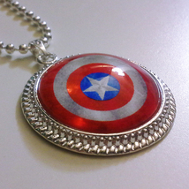 Captain America Shield 1 inch Glass Stone Necklace Pendant Steve Rogers ... - $15.00