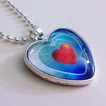 Legend of Zelda Ocarina of Time Piece of Heart Glass Stone Necklace - $15.00