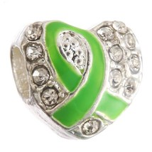 CZ Lime green Ribbon Lymphoma Eye Cancer Awareness charm For European br... - $9.99