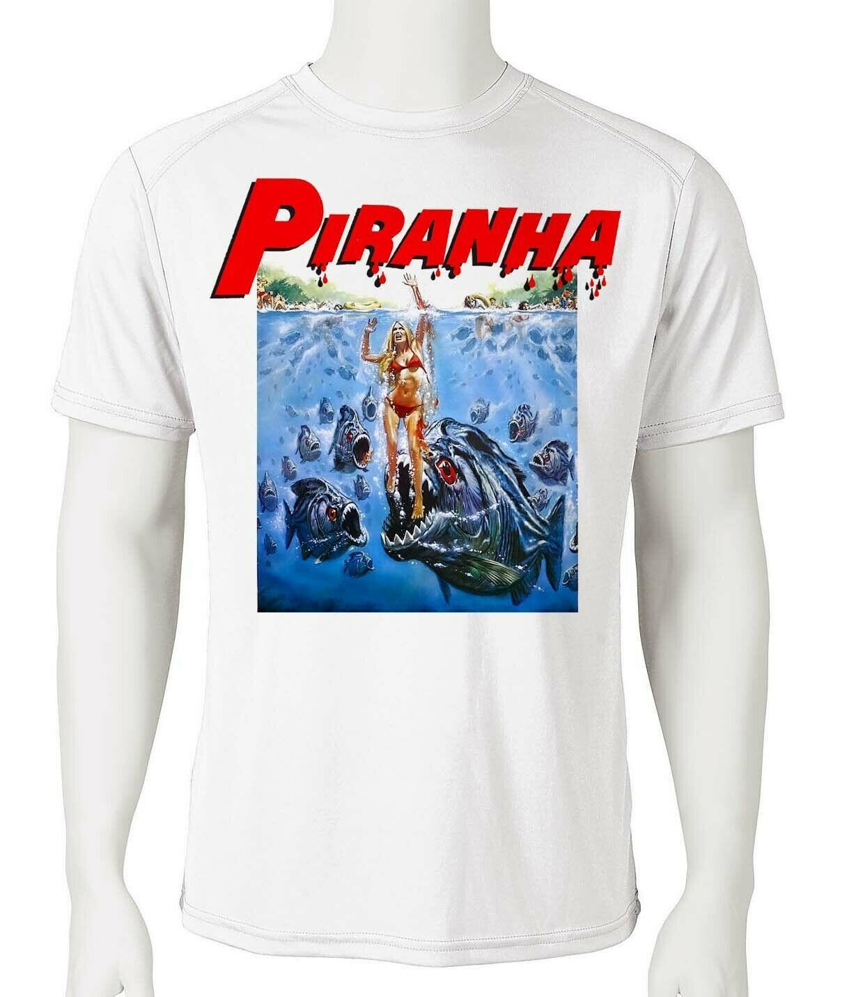 Piranha dri fit for sale online graphic tee 80 s retro sci fi horror tshirt