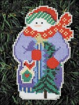 Sparkle Snow Folks Ornament kit christmas perforated paper cross stitch kit - $5.40