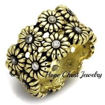 HCJ GOLD TONE STAINLESS STEEL DAISY FLOWER CZ 13MM BAND FASHION RING - $15.29