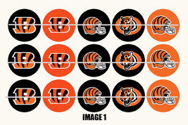 Printed Precut CINCINATTI BENGALS inspired 1 inch images for bottlecaps,... - $2.00