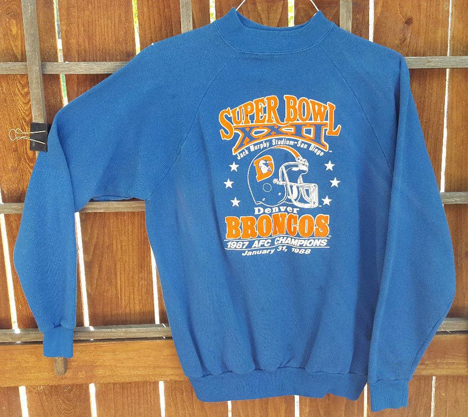 VTG Denver Broncos Sweatshirt-Super Bowl XXII- XL 46-48-Blue-1987 AFC Champions.