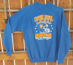 VTG Denver Broncos Sweatshirt-Super Bowl XXII- XL 46-48-Blue-1987 AFC Ch... - $37.39