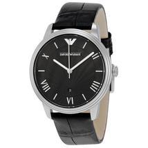 Emporio Armani AR1611 Classic Black Leather Strap Textured Dial Slim Watch - $139.99