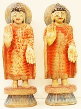Buddha Statues Pair Vintage Decorative Wooden Collectible IndiaUS77 - $664.05