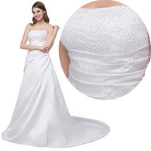 New Arrival White Beaded Top Satin Wedding Dress Sweetheart Bridal Gowns... - $100.00