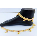 ANKLET BRACELET 22k GOLD PLATED PAYAL SET BOLLYWOOD Fashion INDIAN JEWEL... - $17.58