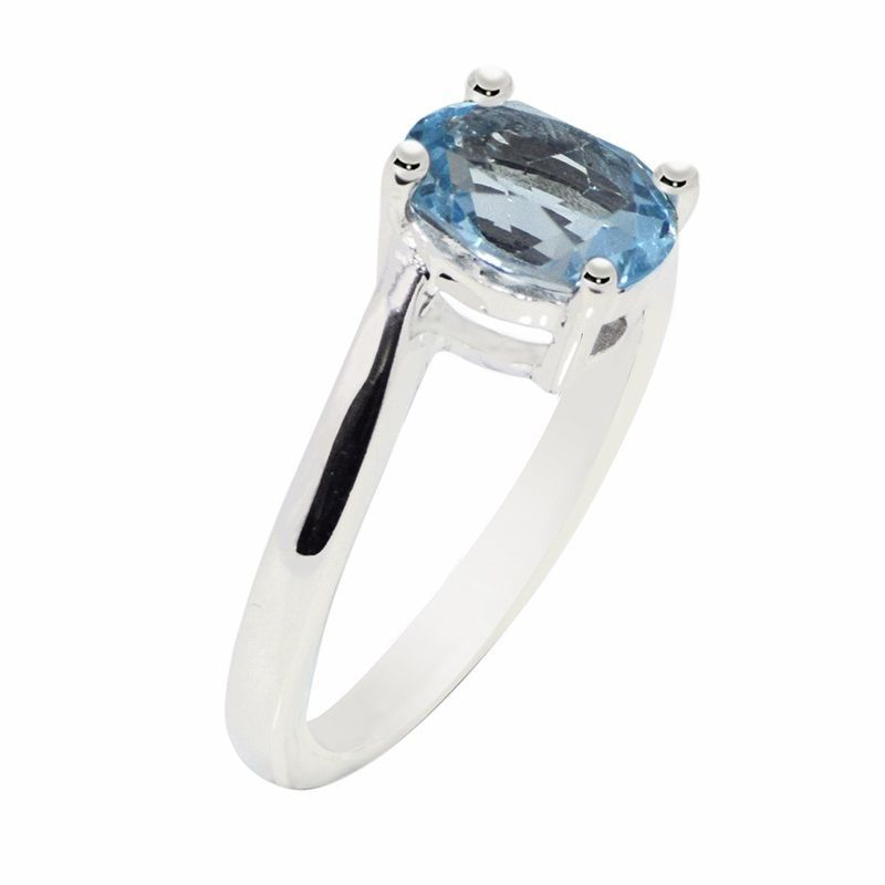 New Looking Ring with Blue Topaz Solid Gemstone 925 Sterling Ring Sz P SR0670